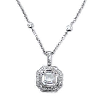 5.45 TCW Ascher-Cut Cubic Zirconia Halo Hexagon Pendant Necklace in Platinum over Sterling