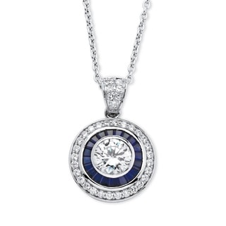 PalmBeach 3.34 TCW Round Cubic Zirconia and Sapphire Pendant Necklace in Platinum over Sterling Silver Glam CZ
