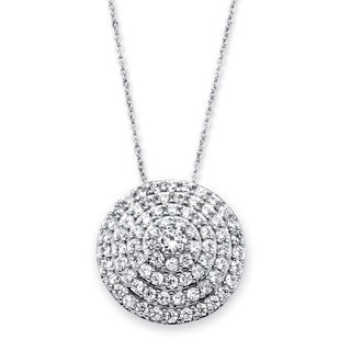 PalmBeach 2.12 TCW Round Cubic Zirconia Concentric Circle Pendant Necklace in Silvertone Classic CZ
