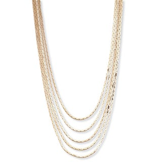 """Multi-Strand Cobra-Link Waterfall Necklace in Yellow Goldtone or Silvertone 30"""" Tailored (2 options available)"""