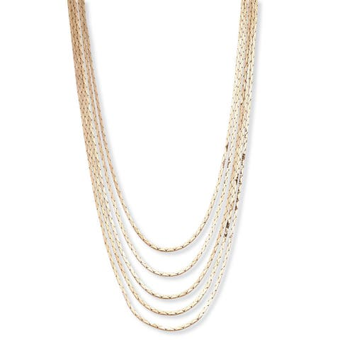 "Multi-Strand Cobra-Link Waterfall Necklace in Yellow Goldtone or Silvertone 30"" Tailored"