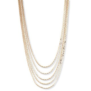 "Link to Multi-Strand Cobra-Link Waterfall Necklace in Yellow Goldtone or Silvertone 30"" Tailored Similar Items in Fashion Jewelry Store"