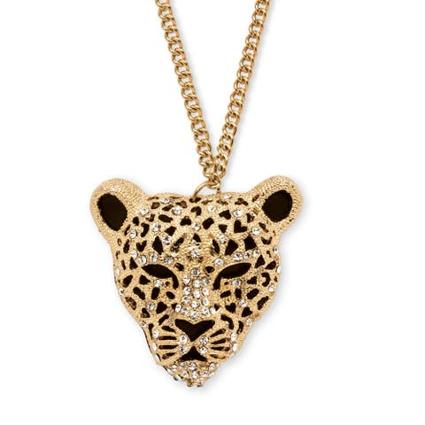 Gold Tone Leopard Charm Pendant (38mm) Round Crystal
