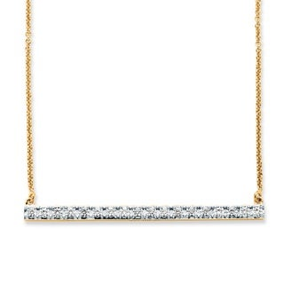 PalmBeach .54 TCW Round Cubic Zirconia Bar Necklace in 18k Gold over Sterling Silver Classic CZ