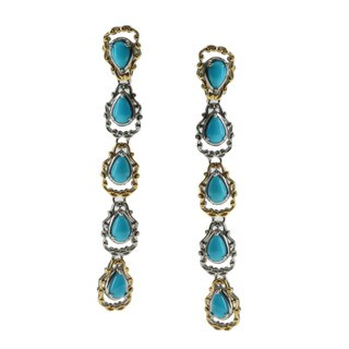 Michael Valitutti Gold over Silver Turquoise Dangle Earrings
