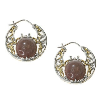 Michael Valitutti Gold over Silver Brown Moonstone Earrings