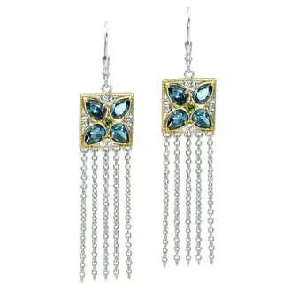 Michael Valitutti Gold over Silver Topaz and Chrome Diopside Dangle Earrings