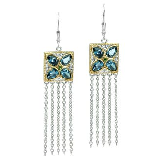 Michael Valitutti Gold over Silver Topaz and Chrome Diopside Dangle Earrings https://ak1.ostkcdn.com/images/products/9736066/P16910230.jpg?impolicy=medium