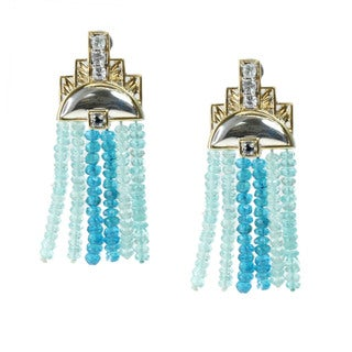 Michael Valitutti Palladium Silver Apatite Topaz and Sapphire Earrings