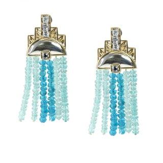 Michael Valitutti Palladium Silver Apatite Topaz and Sapphire Earrings