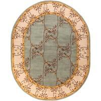 Hand-tufted Shari Green/Grey Wool Area Rug - 6' x 9'