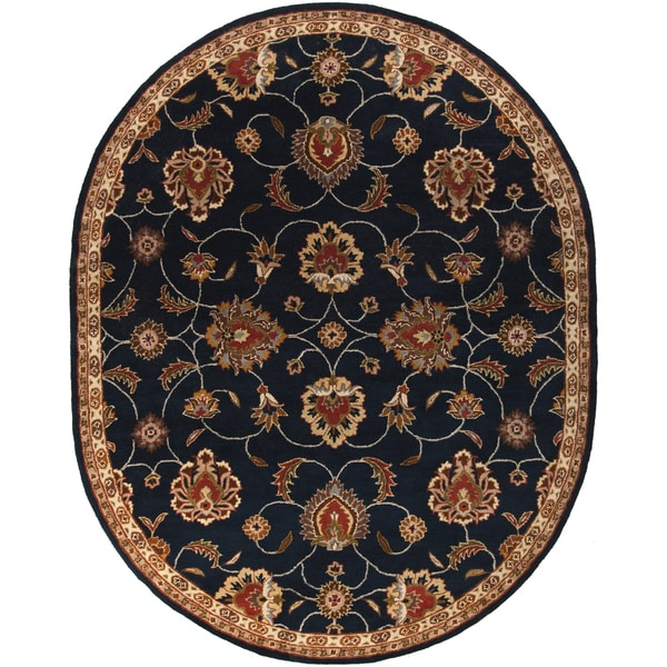 Hand-tufted Shelia Navy/Ivory Wool Area Rug - 6' x 9' Oval