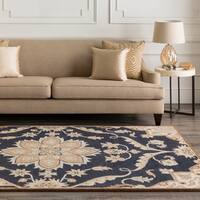 Hand-tufted Robyn Navy/Brown Wool Area Rug - 6' x 9' Oval