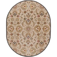 Hand-tufted Micah Beige/Green Wool Area Rug (6' x 9' Oval)