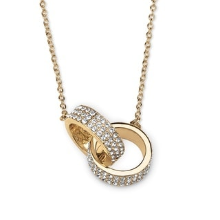 PalmBeach Pave Crystal Love Link Necklace in 14k Gold-Plated Bold Fashion
