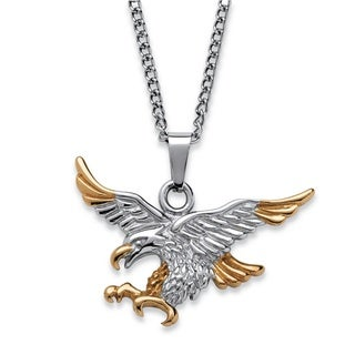 Men's Two-Tone Eagle Pendant and Chain in Gold Ion-Plated and Stainless Steel 24""