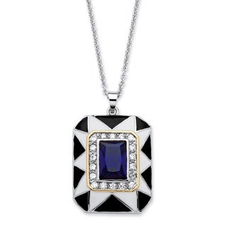 PalmBeach .60 TCW Emerald-Cut Blue Crystal Art Deco Style Pendant Necklace in Silvertone Color Fun