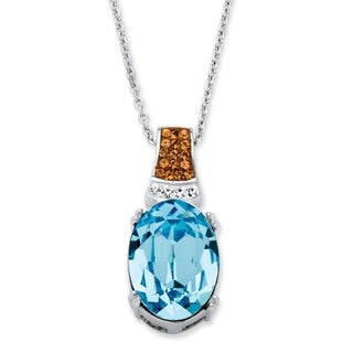 Oval-Cut Aqua Crystal Pendant Necklace Made with SWAROVSKI ELEMENTS Platinum over Sterling