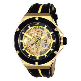 Adee Kaye Men's 'Le Gear' Black/ Yellow Leather Strap Watch