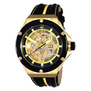 Adee Kaye Men's 'Le Gear' Black/ Yellow Leather Strap Watch|https://ak1.ostkcdn.com/images/products/9736206/P16910417.jpg?impolicy=medium