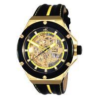 Adee Kaye Men's 'Le Gear' Black/ Yellow Leather Strap Watch