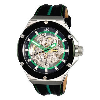 Adee Kaye Men's 'Le Gear' Skeleton Dial Black/ Green Leather Strap Watch