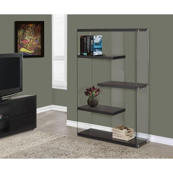 Cappuccino Hallow-core 60-inch 5-tier Tempered Glass Bookcase