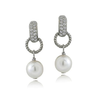 Glitzy Rocks Sterling Silver Cubic Zirconia Faux Pearl Dangle Earrings