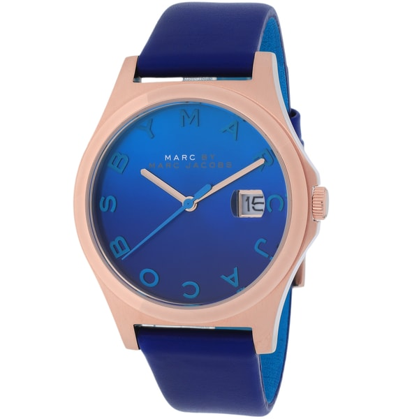 49e118d41e7 Shop Marc Jacobs Women s The Slim Round Blue Strap Watch - Free Shipping  Today - Overstock - 9736240