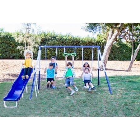 "Sportspower Sierra Vista 4-station Metal Swing Set - 124"" x 102"" x 73"""