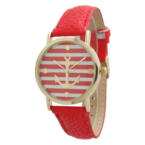 Olivia Pratt Women's Striped Anchor Emblem Leather Band Watch
