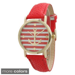 Olivia Pratt Women's Striped Anchor Emblem Leather Band Watch