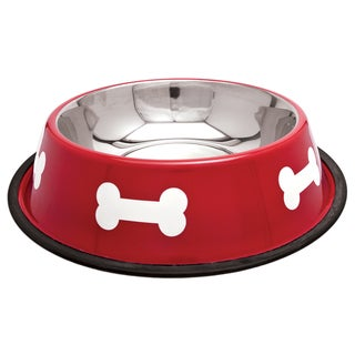 Fashion Steel Bowl Red W/White Bones 64oz-