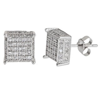 Decadence Sterling Silver 5 by 5 Micropave Stud Cubic Zirconia Earrings