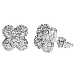 Decadence Sterling Silver Micropave Stud Cubic Zirconia Clover Flower Earrings