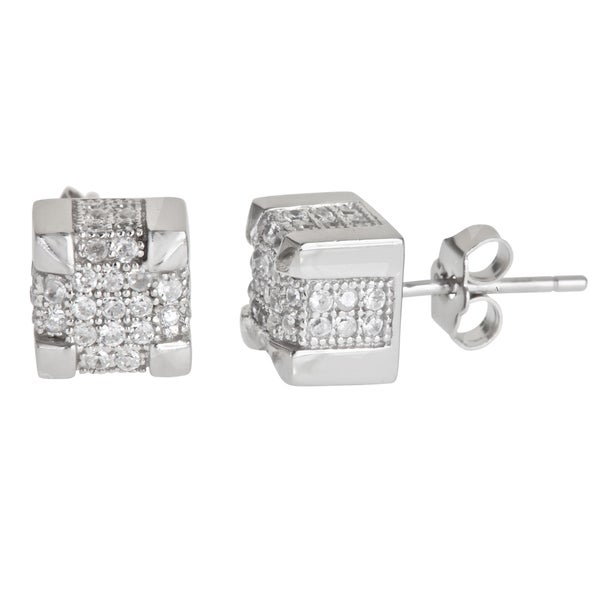 Decadence Sterling Silver Square Micropave Stud Cubic Zirconia Earrings