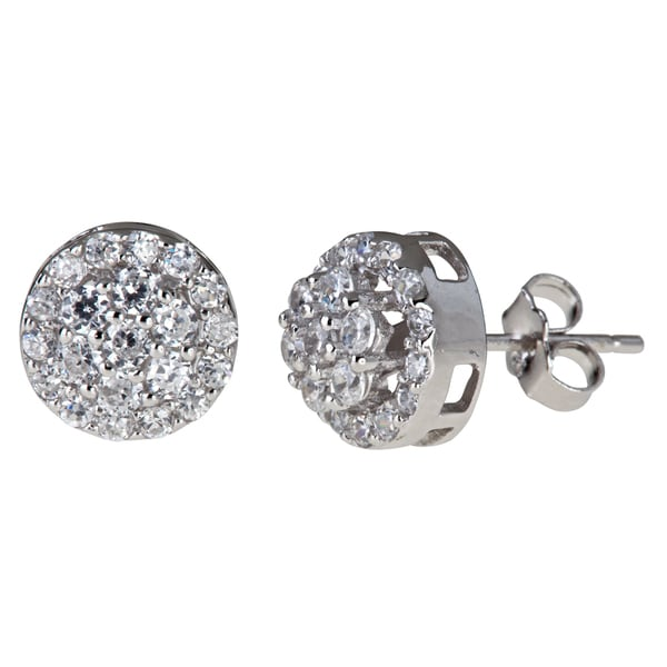 Decadence Sterling Silver Round Micro Pave Stud Cubic Zirconia Earrings