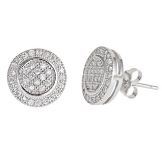 Decadence Sterling Silver Round Micro-pave Stud Cubic Zirconia Earrings