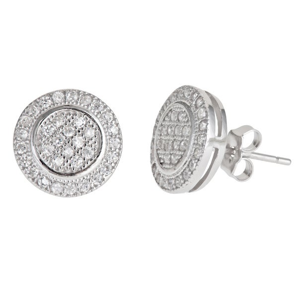 81516de436ce Shop Decadence Sterling Silver Round Micro-pave Stud Cubic Zirconia Earrings  - Free Shipping On Orders Over  45 - Overstock - 9736355