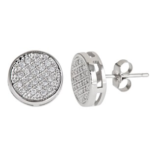 Decadence Sterling Silver Micro-pave Stud Cubic Zirconia Earrings