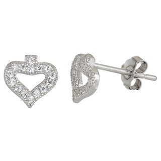 Decadence Sterling Silver Heart Micropave Stud Cubic Zirconia Earrings