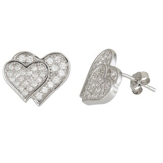 Decadence Sterling Silver Cubic Zirconia Double Heart Micropave Stud Earrings