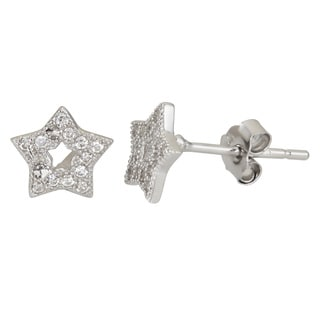 Decadence Sterling Silver Cubic Zirconia Star Micropave Stud Earrings