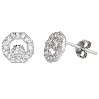 Decadence Sterling Silver Cubic Zirconia Geometric Micropave Stud Earrings