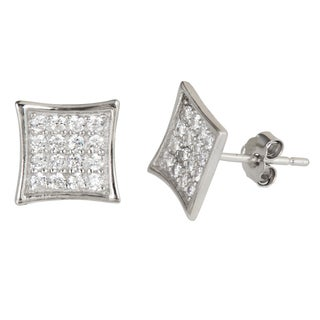 Decadence Sterling Silver Cubic Zirconia Square Pave Earrings