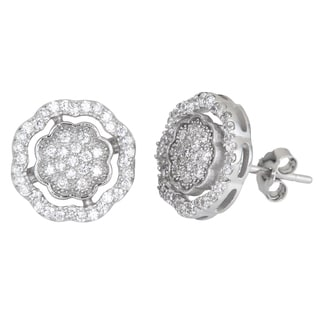 Decadence Sterling Silver Cubic Zirconia Fancy Micropave Stud Earrings