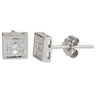 Decadence Sterling Silver Square Micropave CZ Stud Earrings