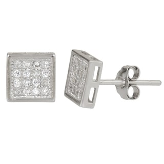 Decadence Sterling Silver Micropave CZ Square Stud Earrings