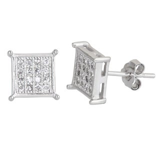 Decadence Sterling Silver Micropave Cubic Zirconia Square Stud Earrings