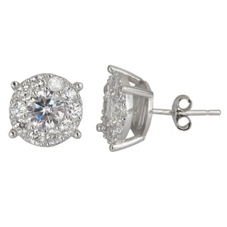 Decadence Sterling Silver Round-cut Micropve CZ Stud Earrings
